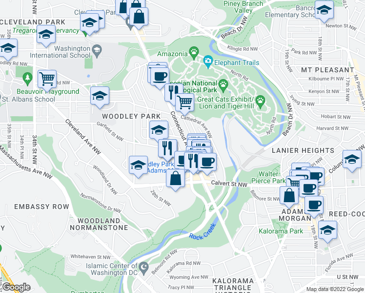 map of restaurants, bars, coffee shops, grocery stores, and more near in