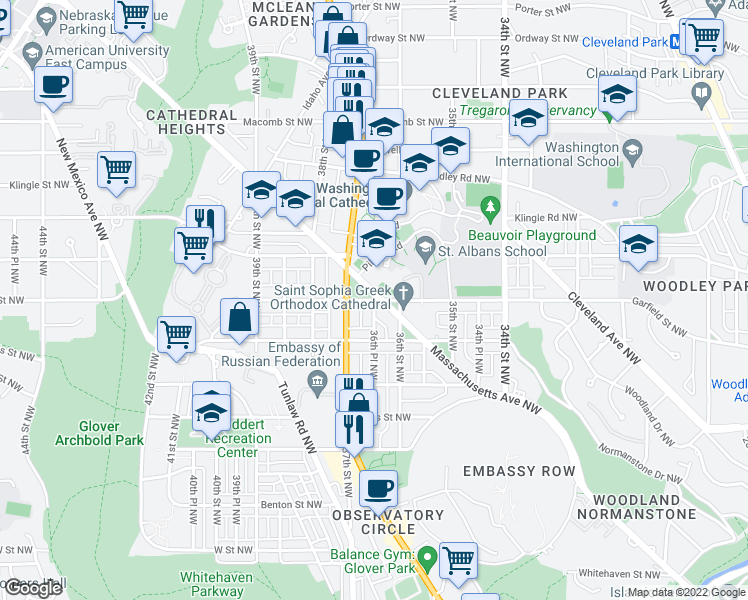 map of restaurants, bars, coffee shops, grocery stores, and more near Valley Place Southeast in Washington