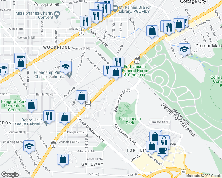map of restaurants, bars, coffee shops, grocery stores, and more near 2900 Bladensburg Road Northeast in Washington