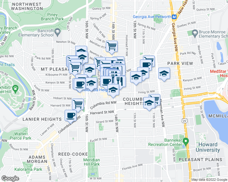map of restaurants, bars, coffee shops, grocery stores, and more near 14th Street Northwest & Irving Street Northwest in Washington
