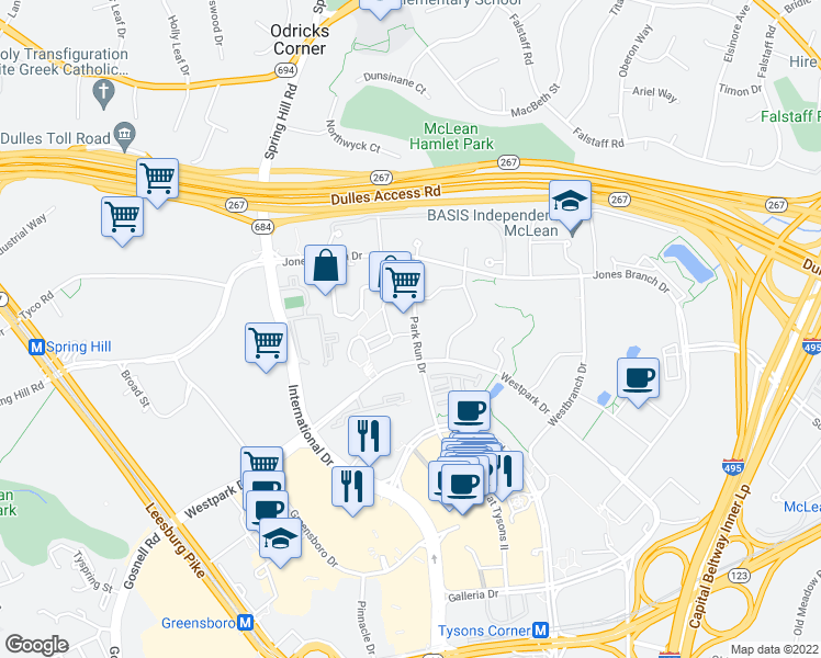 map of restaurants, bars, coffee shops, grocery stores, and more near 8220 Crestwood Heights Dr in McLean