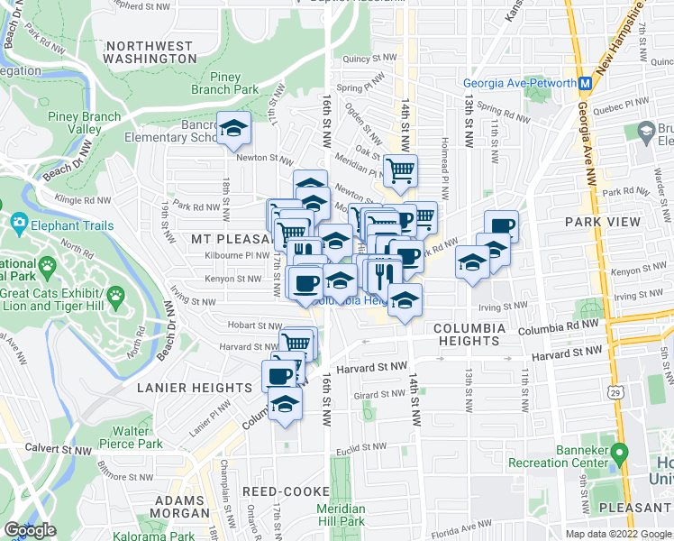 map of restaurants, bars, coffee shops, grocery stores, and more near 3101 16th St NW in Washington