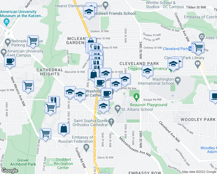 map of restaurants, bars, coffee shops, grocery stores, and more near 3101 Wisconsin Ave NW in Washington