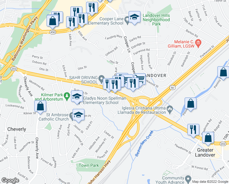 map of restaurants, bars, coffee shops, grocery stores, and more near Kilmer Street in Cheverly
