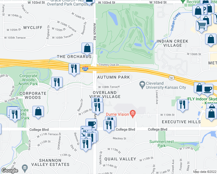 map of restaurants, bars, coffee shops, grocery stores, and more near 8452-8464 West 108th Terrace in Overland Park