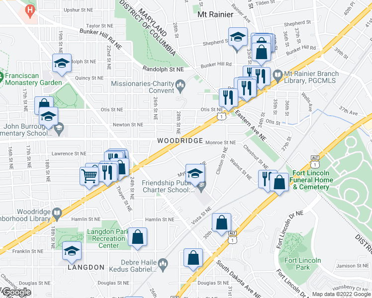 map of restaurants, bars, coffee shops, grocery stores, and more near 2810 Brentwood Rd NE in Washington