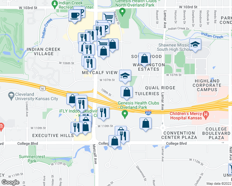 map of restaurants, bars, coffee shops, grocery stores, and more near 6800 West 108th Street in Leawood