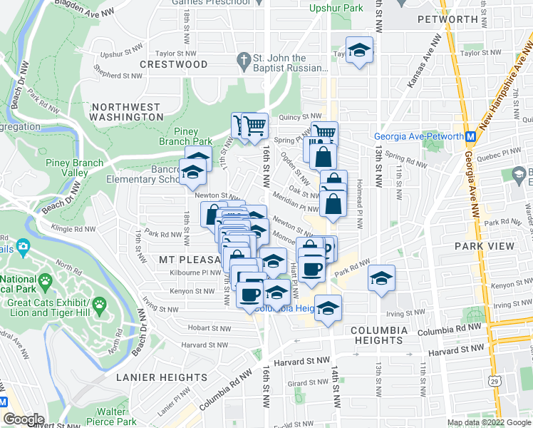map of restaurants, bars, coffee shops, grocery stores, and more near 1625 Newton St NW in Washington
