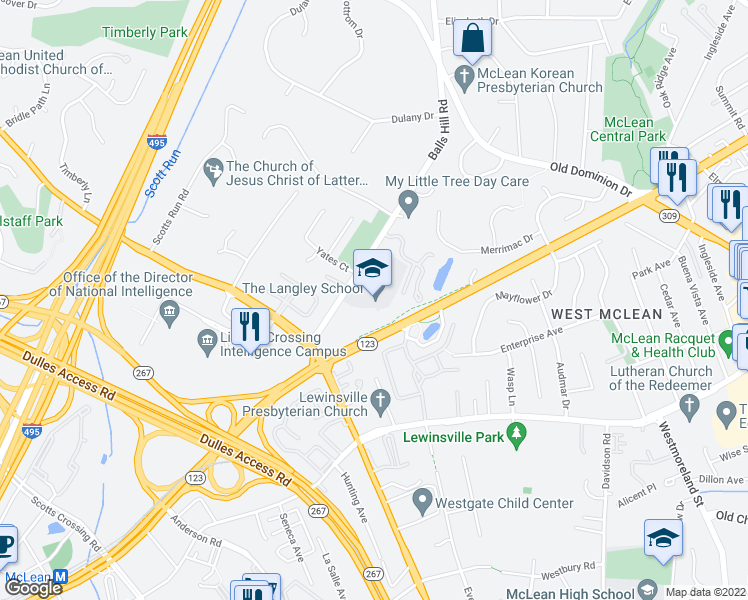 map of restaurants, bars, coffee shops, grocery stores, and more near 7301 Yates Court in McLean