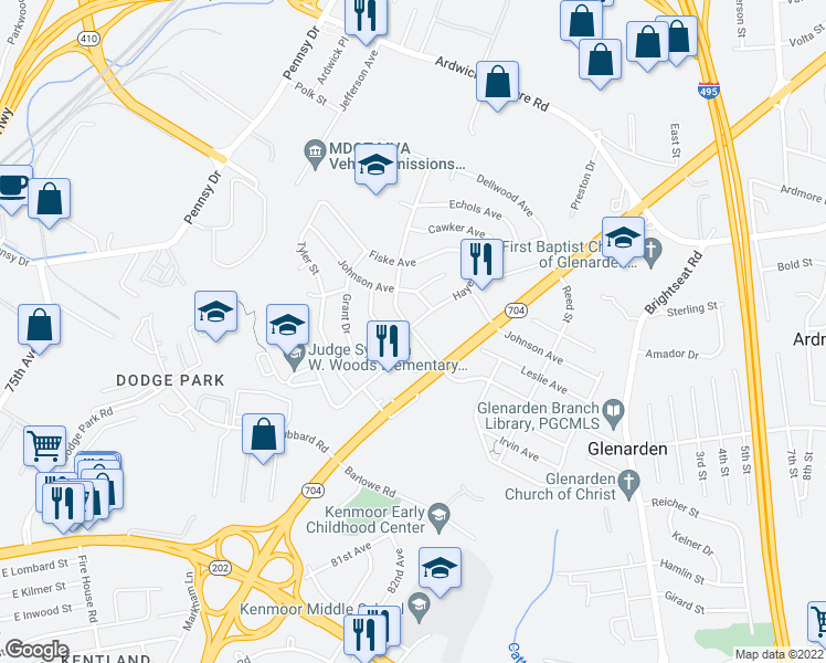 map of restaurants, bars, coffee shops, grocery stores, and more near 3201-3205 Hayes St in Glenarden