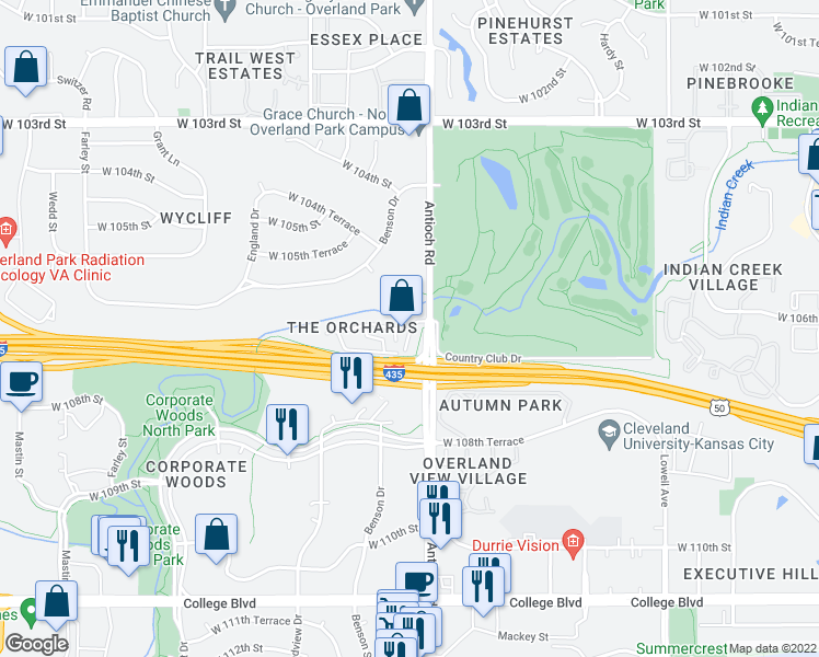 map of restaurants, bars, coffee shops, grocery stores, and more near 8791-8841 West 106th Terrace in Overland Park