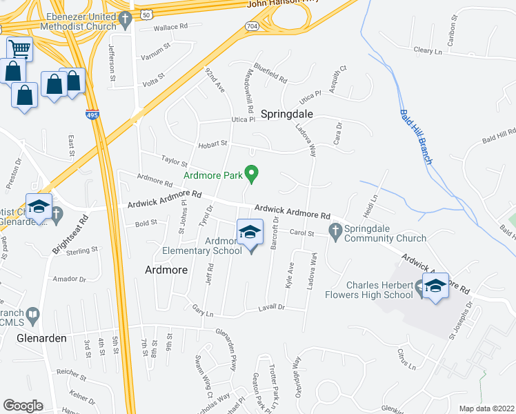 map of restaurants, bars, coffee shops, grocery stores, and more near 9234-9398 Ardwick Ardmore Rd in Springdale