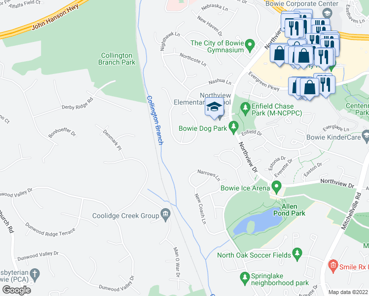 map of restaurants, bars, coffee shops, grocery stores, and more near 14939 Nashua Ln in Bowie