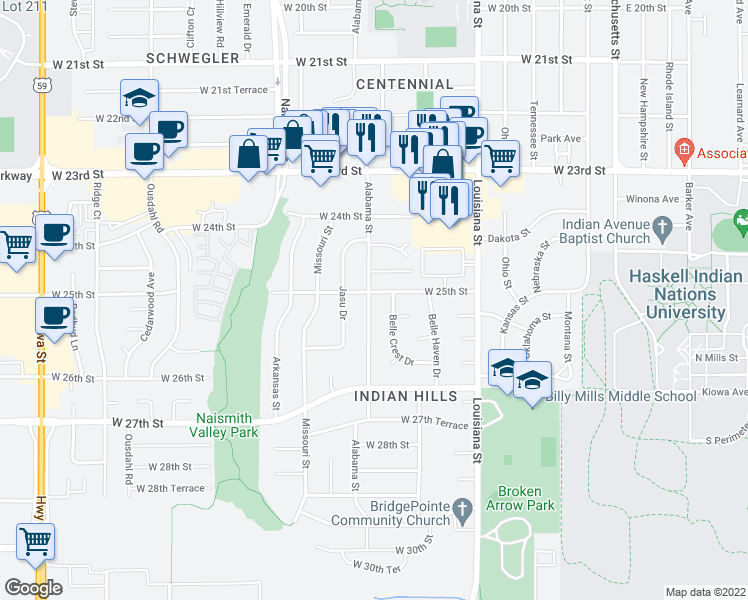 map of restaurants, bars, coffee shops, grocery stores, and more near 813 West 25th Street in Lawrence