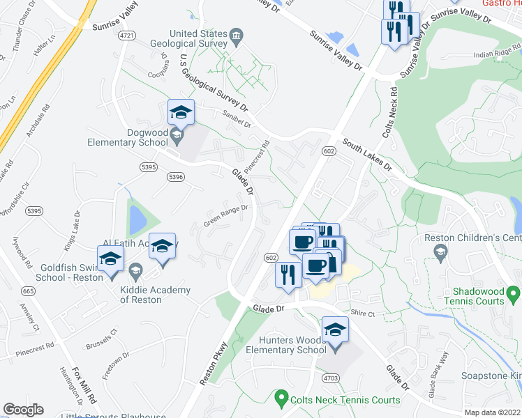 map of restaurants, bars, coffee shops, grocery stores, and more near 2200 Stone Wheel Drive in Reston