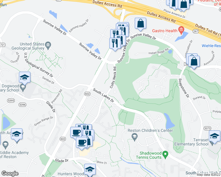 map of restaurants, bars, coffee shops, grocery stores, and more near Colts Neck Rd & Royal Fern Ct in Reston