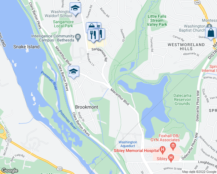 map of restaurants, bars, coffee shops, grocery stores, and more near MacArthur Blvd & Sangamore Rd in Bethesda