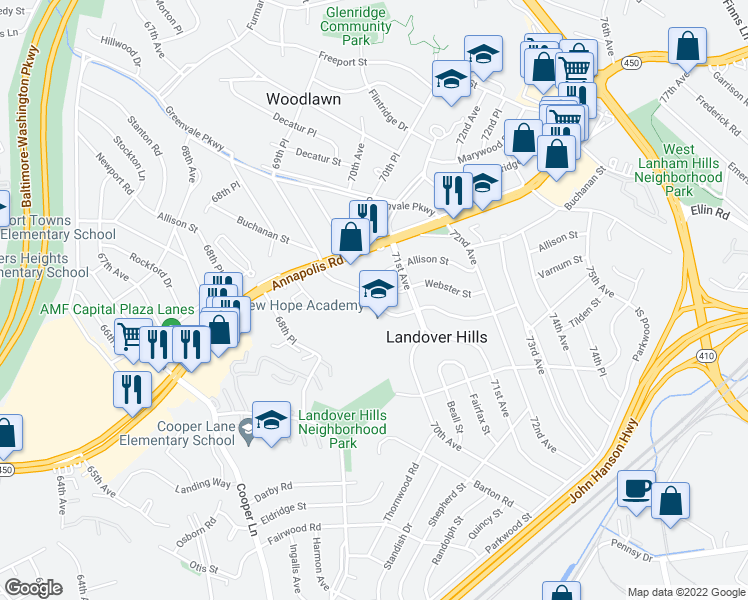 map of restaurants, bars, coffee shops, grocery stores, and more near 7002 Varnum Street in Hyattsville