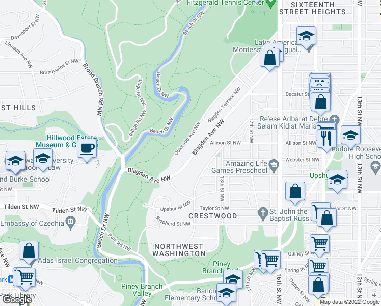 map of restaurants, bars, coffee shops, grocery stores, and more near 4330 Blagden Ave NW in Washington