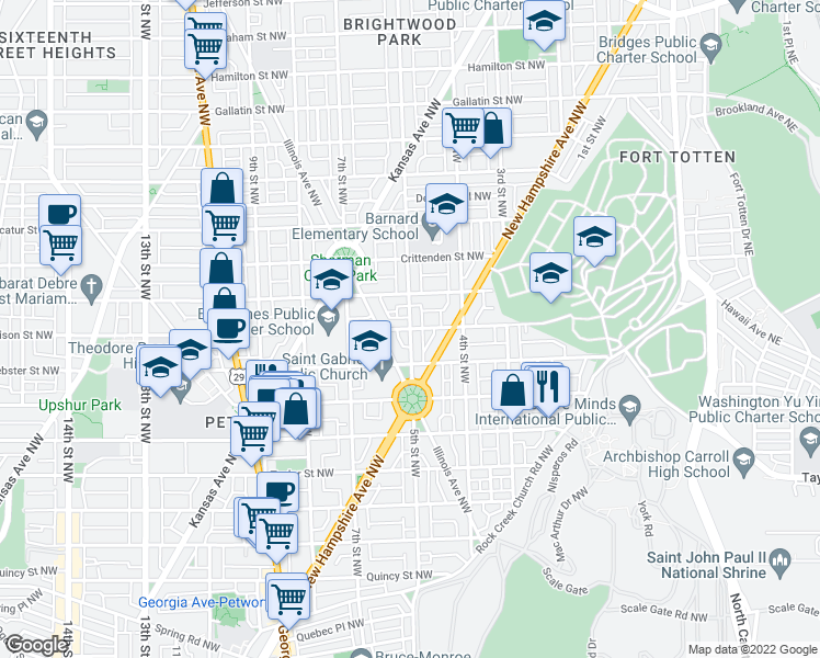 map of restaurants, bars, coffee shops, grocery stores, and more near 5th St NW & Allison St NW in Washington