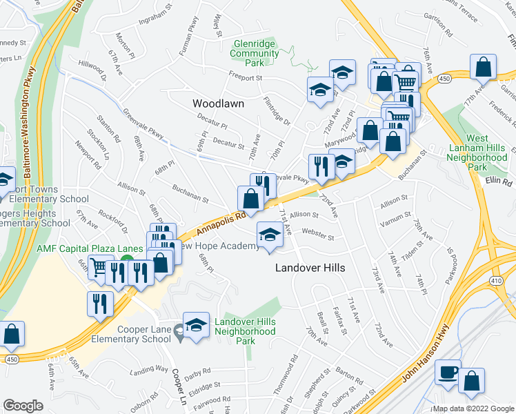 map of restaurants, bars, coffee shops, grocery stores, and more near 4800 Woodlawn Drive in Hyattsville