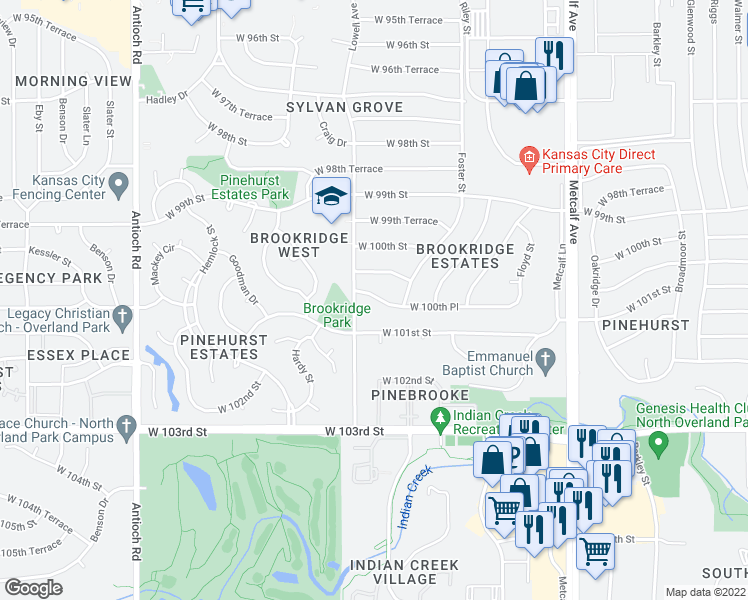 map of restaurants, bars, coffee shops, grocery stores, and more near in Overland Park