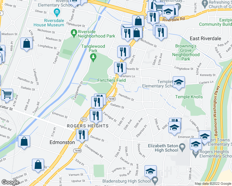 map of restaurants, bars, coffee shops, grocery stores, and more near 5300 Hamilton Street in Hyattsville
