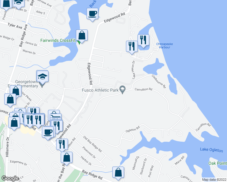 map of restaurants, bars, coffee shops, grocery stores, and more near 1019-1021 Carrs Road in Annapolis