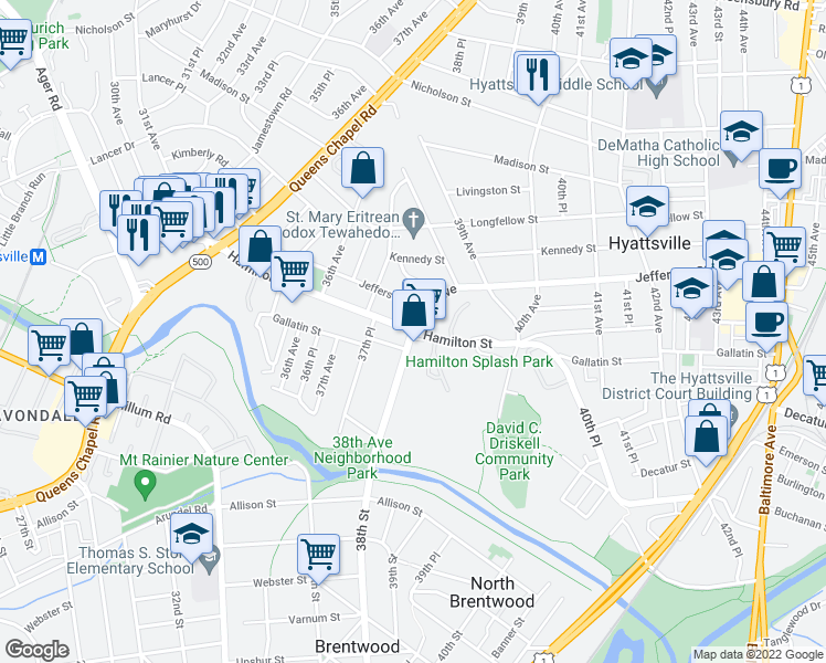 map of restaurants, bars, coffee shops, grocery stores, and more near 5301 38th Street in Hyattsville