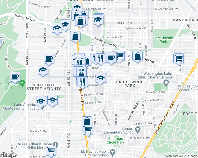 map of restaurants, bars, coffee shops, grocery stores, and more near 830 Jefferson St NW in Washington