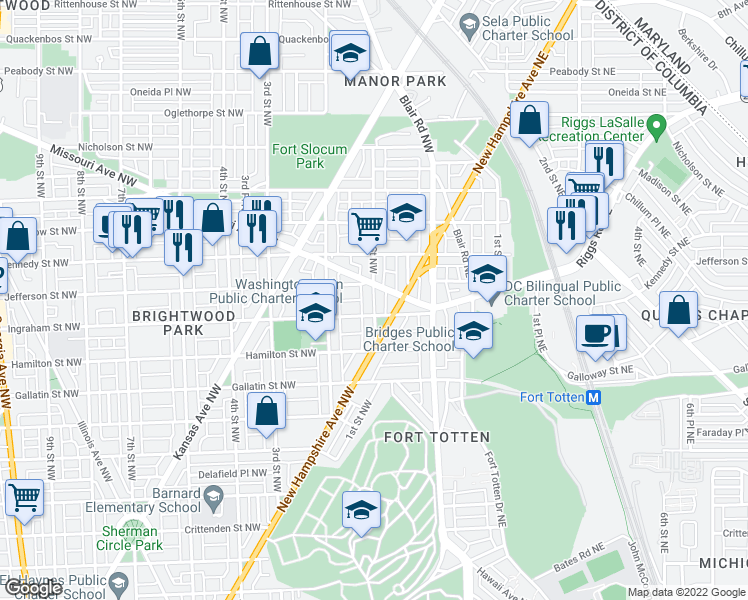 map of restaurants, bars, coffee shops, grocery stores, and more near 1st Street Northwest in Washington