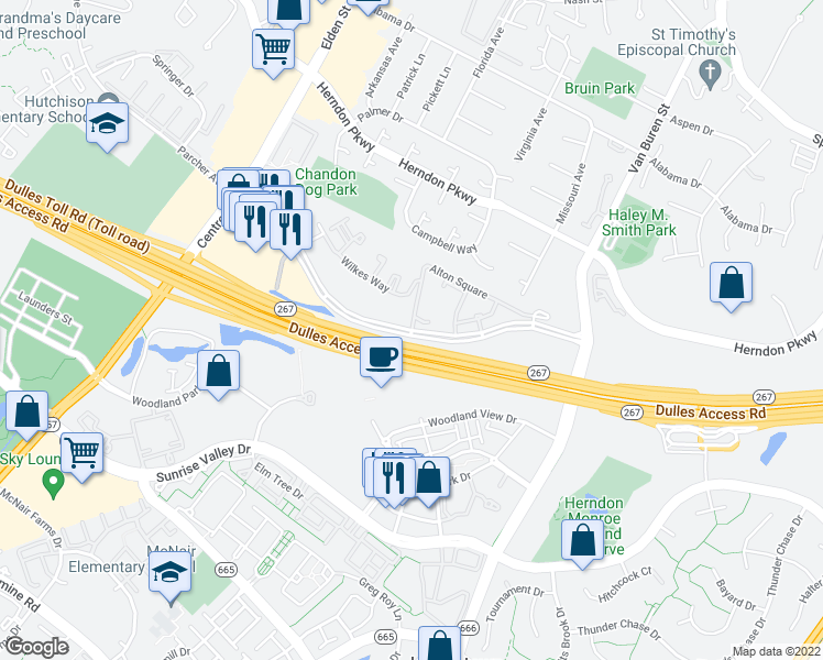 map of restaurants, bars, coffee shops, grocery stores, and more near Worldgate Dr & Alton Square in Herndon