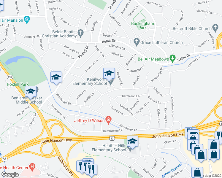 map of restaurants, bars, coffee shops, grocery stores, and more near 12602 Kernwood Lane in Bowie