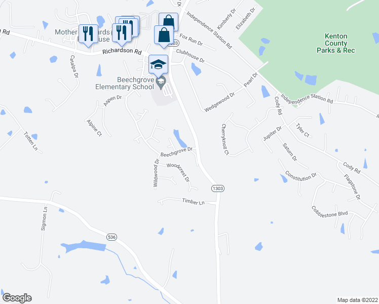 map of restaurants, bars, coffee shops, grocery stores, and more near 970 Bristow Road in Independence