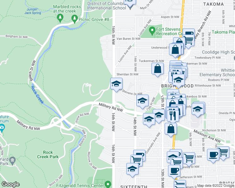 map of restaurants, bars, coffee shops, grocery stores, and more near 1444 Rock Creek Ford Road Northwest in Washington