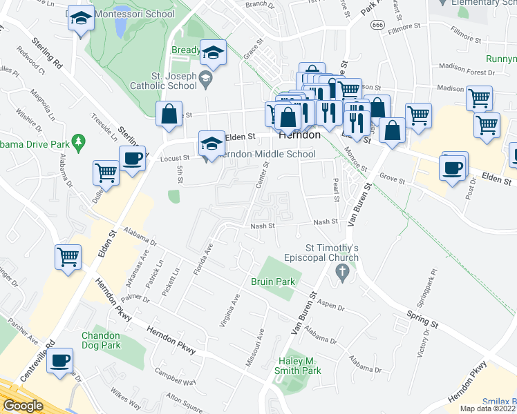 map of restaurants, bars, coffee shops, grocery stores, and more near Pride Drive in Herndon