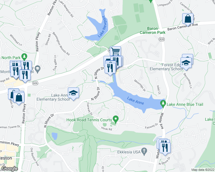 map of restaurants, bars, coffee shops, grocery stores, and more near 11438 Waterview Cluster in Reston