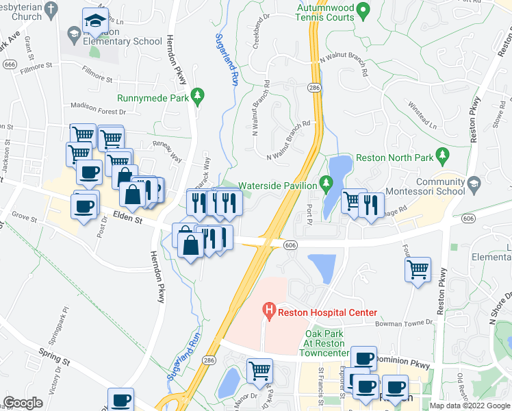 map of restaurants, bars, coffee shops, grocery stores, and more near 199 Laurel Way in Herndon