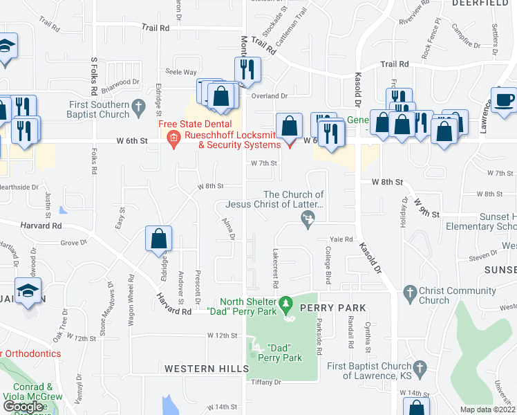 map of restaurants, bars, coffee shops, grocery stores, and more near 904 Christie Ct in Lawrence