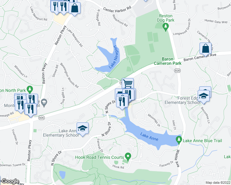 map of restaurants, bars, coffee shops, grocery stores, and more near 11419-11449 N Shore Dr in Reston