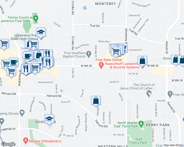 map of restaurants, bars, coffee shops, grocery stores, and more near 4220 Timberline Court in Lawrence
