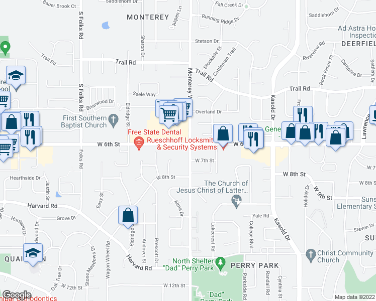 map of restaurants, bars, coffee shops, grocery stores, and more near 627 Monterey Way in Lawrence