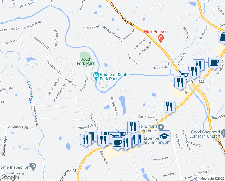 map of restaurants, bars, coffee shops, grocery stores, and more near 145 Wellington Drive in Florence