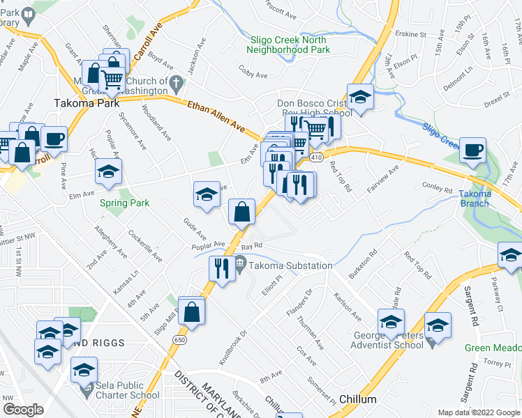 map of restaurants, bars, coffee shops, grocery stores, and more near 6819-6857 New Hampshire Avenue in Takoma Park