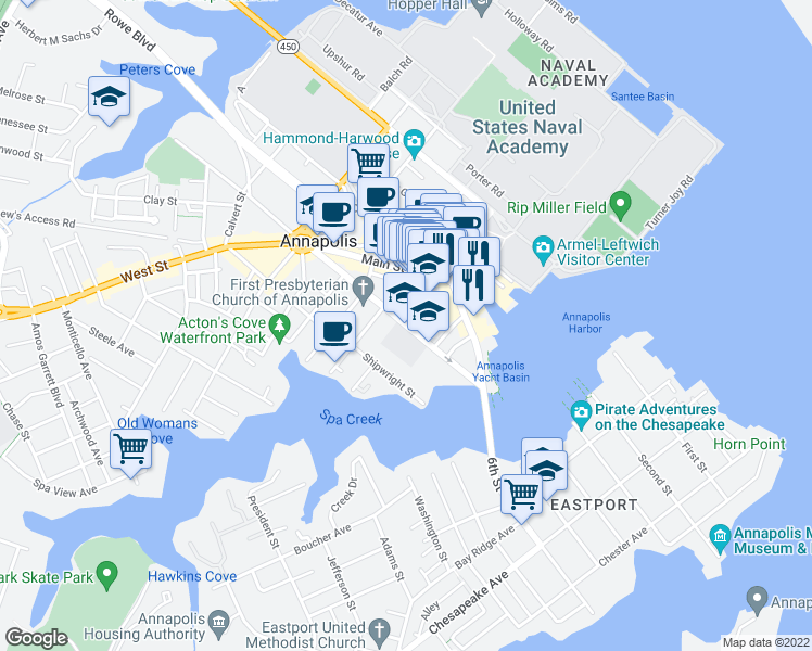 map of restaurants, bars, coffee shops, grocery stores, and more near 126 Duke of Gloucester Street in Annapolis