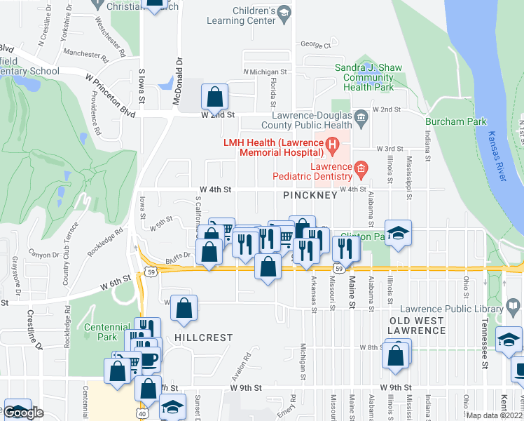 map of restaurants, bars, coffee shops, grocery stores, and more near 422 Minnesota Street in Lawrence