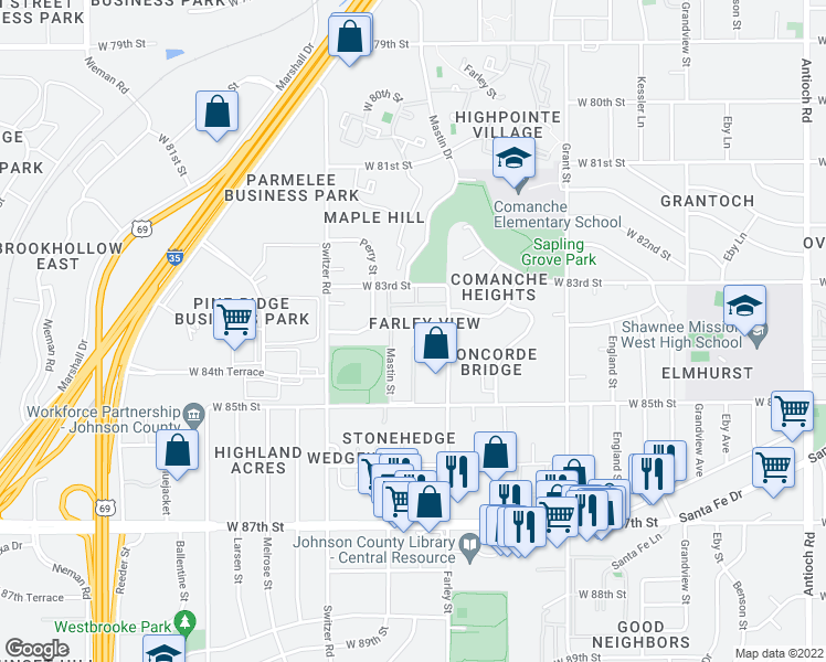 map of restaurants, bars, coffee shops, grocery stores, and more near 9901-9951 West 83rd Terrace in Overland Park