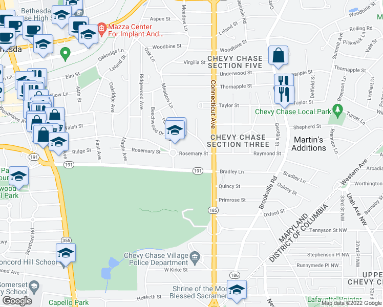 map of restaurants, bars, coffee shops, grocery stores, and more near 3916 Rosemary Street in Chevy Chase