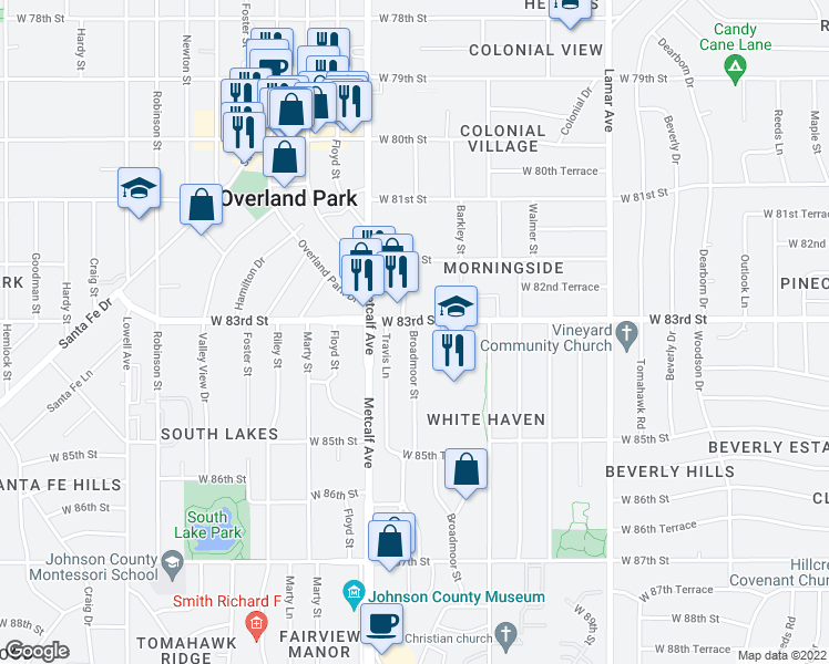 map of restaurants, bars, coffee shops, grocery stores, and more near 8316 Broadmoor in Overland Park