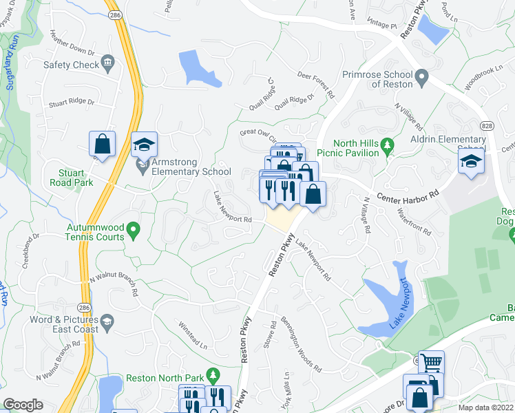 map of restaurants, bars, coffee shops, grocery stores, and more near 11727 Summerchase Cir in Reston